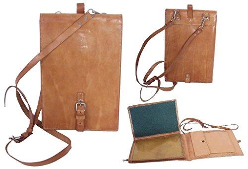 Kartenmelde Tasche Leder mit Gurt braun neuwertig Ledertasche Ümhängetasche