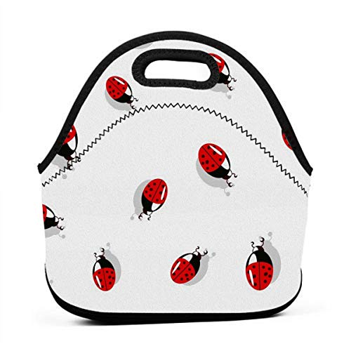 Lunch Bag Totebox Moisture Resistant Premium Lunch Container Reusable Gourmet Tote Pouch Organizer Cute Ladybug Insect Grocery Container for Women Men Kids Office Work