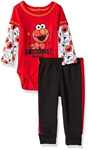 Sesame Street Baby Boys' 2 Piece Elmo Top and Fleece Pant, Red, 3-6 Months