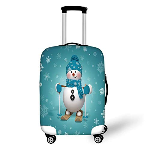 Travel Luggage Cover Suitcase Protector,Snowman,Skiing with Ornate Snowflakes Winter Vacation Activity Fun Hobby Decorative,Turquoise White Pale Brown,for TravelL 25.9x37.8Inch ()
