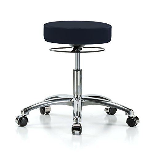 Perch Chrome Stella Rolling Adjustable Stool Medical Salon Spa Massage Tattoo Office 18.5″ – 24″ (Hard Floor Casters/Imperial Fabric) For Sale