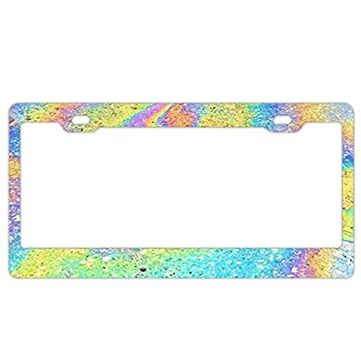 """YEX Abstract Mermaid Holographic License Plate Frame Car License Plate Covers Auto Tag Holder 6"""" x 12"""""""