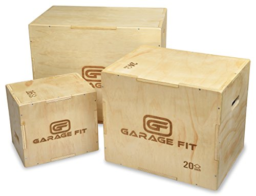 Garage Fit Wood Plyo Box - 24/20/16-3 in 1 Plyo Box Plyo-Box, Plyometric Box, Plyometric Jump Box, Plyometric Jump Boxes, Box Jump Boxes, Plyo Jump Box (16/20/24)