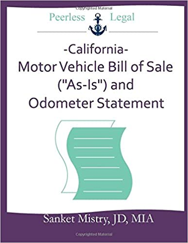 California Motor Vehicle Bill Of Sale As Is And Odometer
