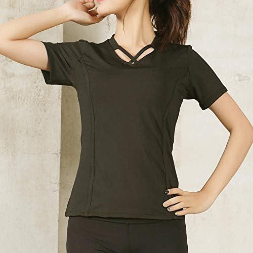 ヨガの服は、女性の速乾性半袖スポーツシャツタイトフィットトレーニングネットワークを実行しているヨガジムはTシャツのワークアウトの服を赤