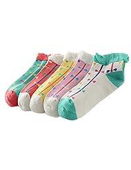 Feoya Girls Bowknot Patterned Ankle Socks Gift Children Low Cut Socks (5 Pack)