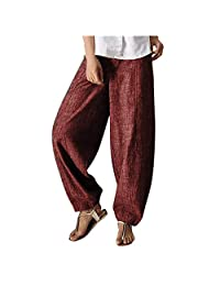 Bravetoshop Women's Casual Cotton Linen Baggy Pants with Elastic Waist Solid Palazzo Casual Wide Leg Pants
