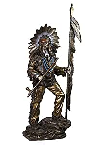 Bronze Color Indian Chief Holding Feathered Spear And Peace Pipe
