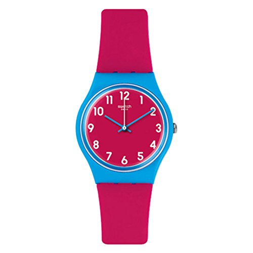 Swatch Women's 'Blue Lampone' Quartz Plastic and Silicone Casual Watch, Color:Pink (Model: GS145)
