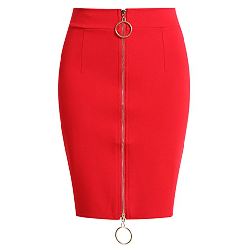 Ladies Pencil Skirts Womens Das High Waist Black Sexy Elastic Skirt Plus Size Zipper Elegant Mini Bandage Skirt Jupe Crayon Red S (Jupe Mini)