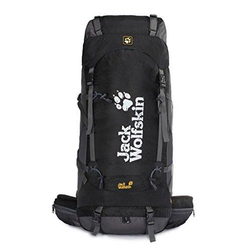 Outdoor-Klettern Tasche mit großer Kapazität wasserdichtem Nylon-Rucksack im Freien Wanderrucksack schwarz 50L Fa0PgE