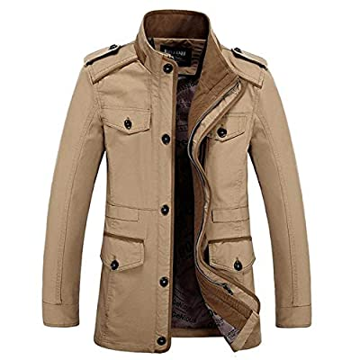 Men Trench Coats Casual Stand Collar Front Zip Jacket Military Style Windbreaker Coat Outerwear Stylish Fashion Classic