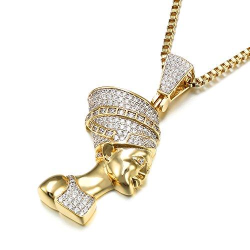 VANAXIN Nefertiti Egyptian Queen Pendant Necklace Punk Jewelry Women Men Necklaces 30