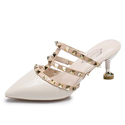 High Heeled Rivets Leather Heeled Shoes High Patent Heels Feminine WHLShoes Beige slippers women qZCqgO