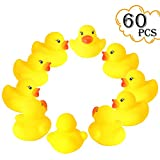 rainbow yuango 1.4'' Mini Yellow Ducks Rubber Bath Toy Pure Natural Cute PVC Rubber Ducky for Baby Kinder Toys Set of 60