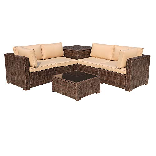 (Super Patio 6 Pieces Outdoor Rattan Sectional Furniture Set with Storage Box Beige Seat and Back Cushions, Steel Frame, Brown PE Wicker (6 Piece-Upgrade))