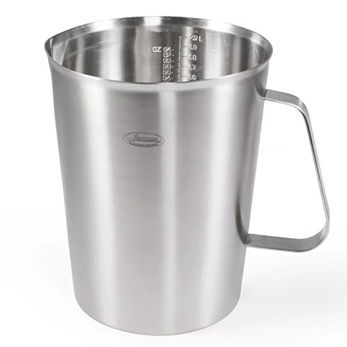 Measuring Cup, [Upgraded, 3 Measurement Scales, Including Cup Scale, ML Scale, Ounce Scale], Newness Stainless Steel Measuring Cup with Marking with Handle, 64 Ounces (2.0 Liter, 8 Cup) (Handle Steel Plastic Stainless)