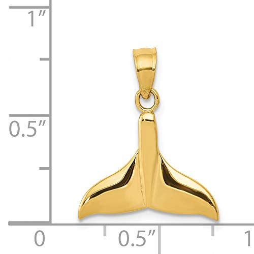 14k Solid Polished Open-Backed Whale Tail Pendant