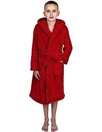 TowelSelections Big Boys' Robe, Kids Plush Hooded Fleece Bathrobe Size 12 Red
