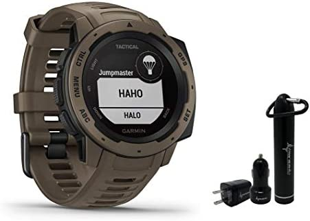 Garmin Instinct Rugged GPS Watch and Wearable4U Ultimate Power Pack Bundle Tactical Coyote Tan