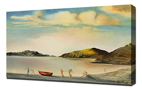 Lilarama USA Salvador Dali Port Lligat Au Coucher Du Soleil Framed Canvas Art Print Reproduction