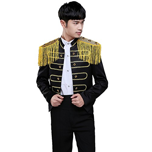 MYS Mens Classic Embroidery Tassels Suit and Pants Party Tuxedo Set Gold