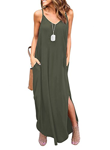 (HUSKARY Women's Summer Casual Pockets Strappy Long Dress Loose Beach Cami Split Maxi Dress Army Green)
