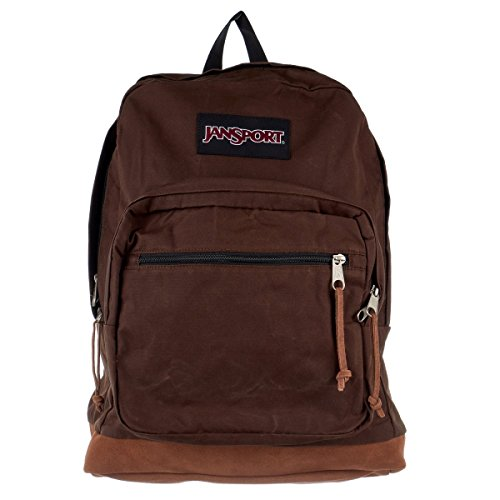 JanSport Unisex Right Pack Expressions Back Pack Downtown Brown Waxed Canvas One (Ponderosa Leather)