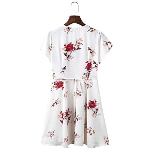 Estampado Fiesta para Blanco Cuello Mujer De Vestidos Maxi Playa Corto con Vestido Verano Mujer Verano De Bohemio En Pico Flores TxnHxfqO1