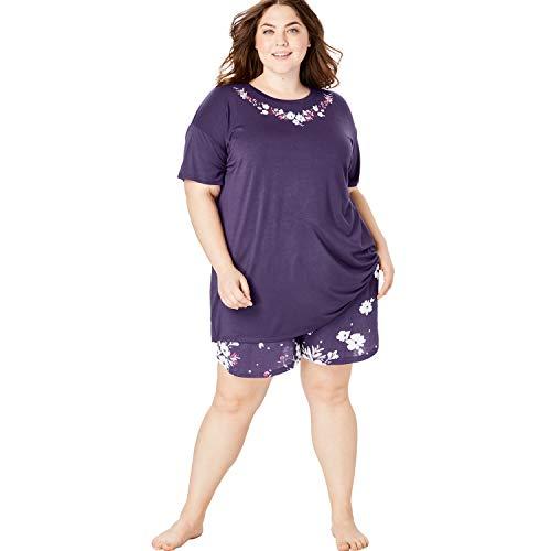 Dreams & Co. Women's Plus Size Print Pajama Shorts - Rich Violet Bud, 22/24