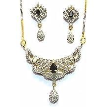 Shingar Jewelry Ksvk Jewels Cubic Zirconia (CZ) Tanmania Pendant Set For Women (9958-psad-black)