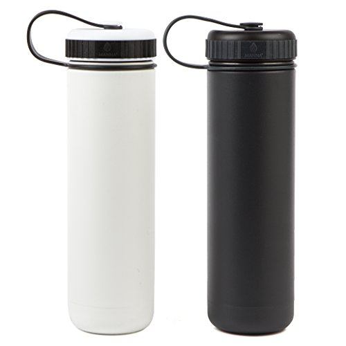 Manna Ranger 2-Pack of 26 oz Double-Walled Vacuum Insulated Stainless Steel Bottle for Sports & Hiking| No Sweat | BPA & Lead-Free | Keeps Liquid Cold for 24 Hours & Hot for 12 Hours – White/Charcoal (Charcoal Rangers)