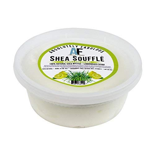 (AF Shea Souffle Whipped And Creamy 100% Natural Shea Butter 8oz (Lemongrass))