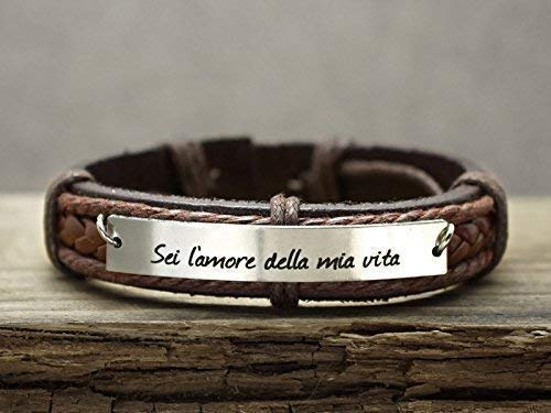 Mens Brown Leather Cuff Bracelet, Custom Italian Language Engraved, Love of My Life, Stainless Steel Bar, Gift for Him ()