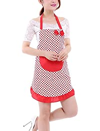 Vintage Lovely Style Lady Dot Cotton Canvas Bow Apron Restaurant Kitchen Cooking Chef Waitress Aprons for Women Girls with Pockets