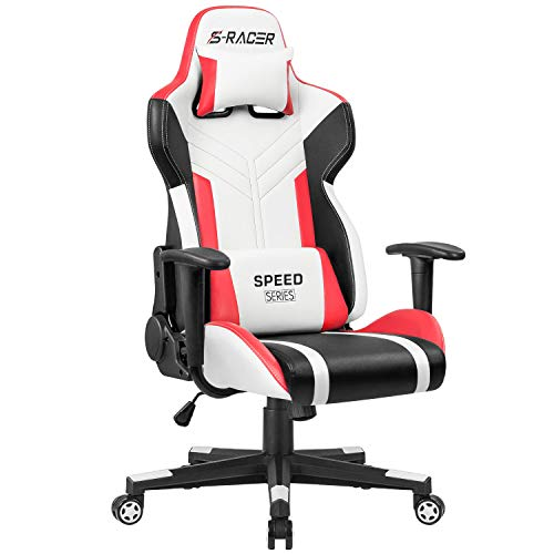 Homall Gaming Chair Racing Style High-Back PU Leather Office Chair Computer Desk Chair Executive and Ergonomic Swivel Chair with Headrest and Lumbar Support (White and ()