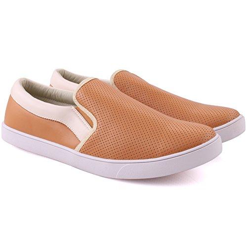 Slittamento 6 11 Sneakers Unze Walking Vito Gli beige Sports Dimensioni Esecuzione Leggera in Casual su Uomini UK Tela pRpzw