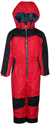 Pulse Little Boys and Toddler 1 Piece Snowsuit Coveralls (3T, Red/Black) - One Piece Insulated Ski Suit