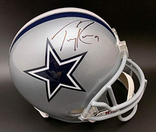 (Signed Tony Romo Helmet - Full Size Replica - PSA/DNA Certified - Autographed NFL Helmets)