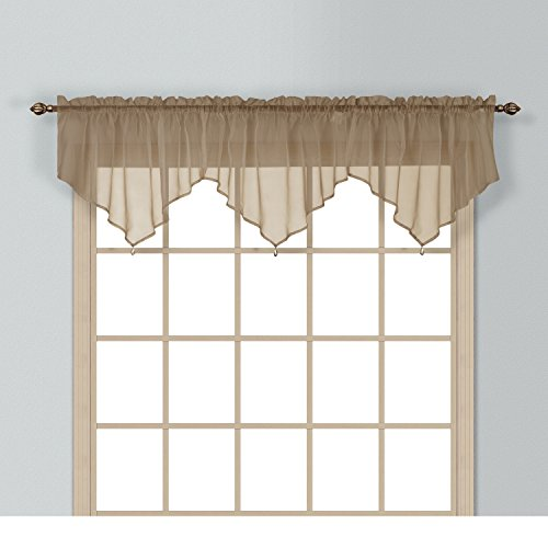 (1 Piece Coordinating Sheer Taupe Voile Ascot Valance, Curtain, Solid Pattern, Contemporary Style, Beautiful Design, Polyester Material, Luxury and Reach Look, Stunningly Beautiful, Coffee Chocolate)