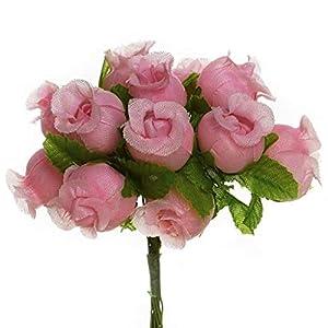 144 Poly Rose Silk Favor Flower Pick Wedding Shower - Mauve/Dusty Rose 6