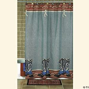 Cowboy boots decor western shower curtain for Bathroom decor on amazon