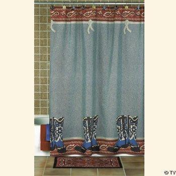 COWBOY Boots Decor Western SHOWER CURTAIN Bathroom NEW