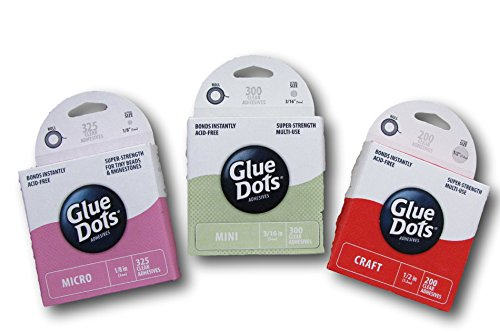 Glue Dots Variety Bundle - Set of 3 - Craft, Micro & Mini