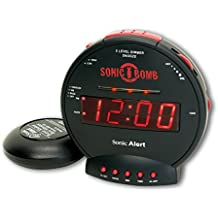 Sonic Alert SBB500SS Sonic Bomb Extra-Loud Dual Alarm Clock with Red Flashing Alert Lights and a Powerful Bed Shaker (Certified Refurbished)