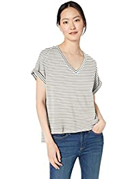 Amazon Brand - Daily Ritual Women's Supersoft Terry Deep V-Neck Roll-Sleeve Shirt