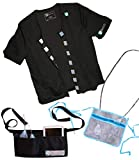 Heal in Comfort Mastectomy Breast Cancer Recovery Shirt & Drain Pouch Bundle - Size Large Black