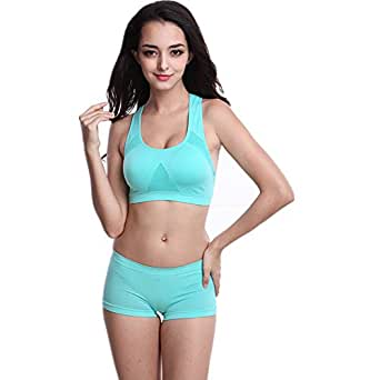 The-Fox Women's Seamless Sport Bra Breathable Meshes Brassiere (L, Green)