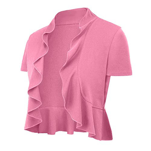 Sleeve Short Ruffle Cardigan (UUANG Women's Elgeant Shrug Bolero Open Front Solid Color Cotton Cardigan (Pink,M))