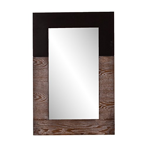 Southern Enterprises Wagars Wood Grain Wall Mirror - Two Tone Burnt Oak & Black - Clean Modern Hanging Mirror